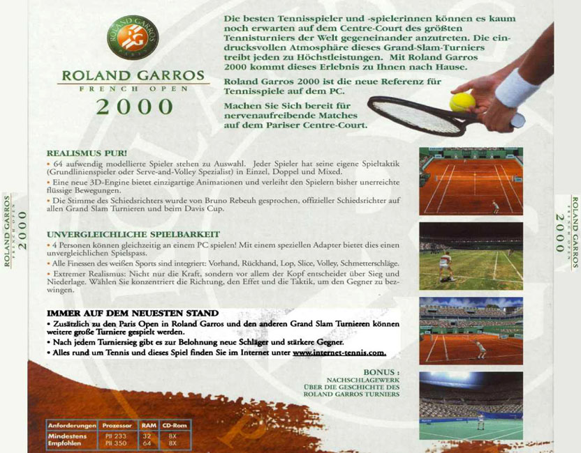 Roland Garros: French Open 2000 - zadný CD obal